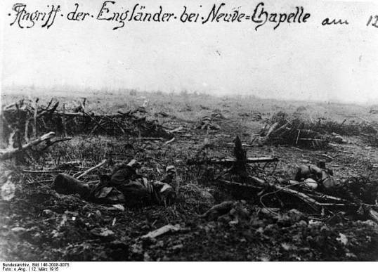 Photograph of the British battlefield in Neuve Chappelle  March 12, 1915